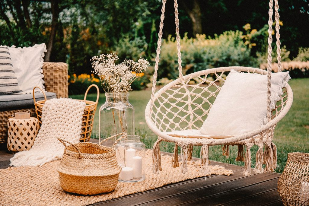 Hanging chair on a deck