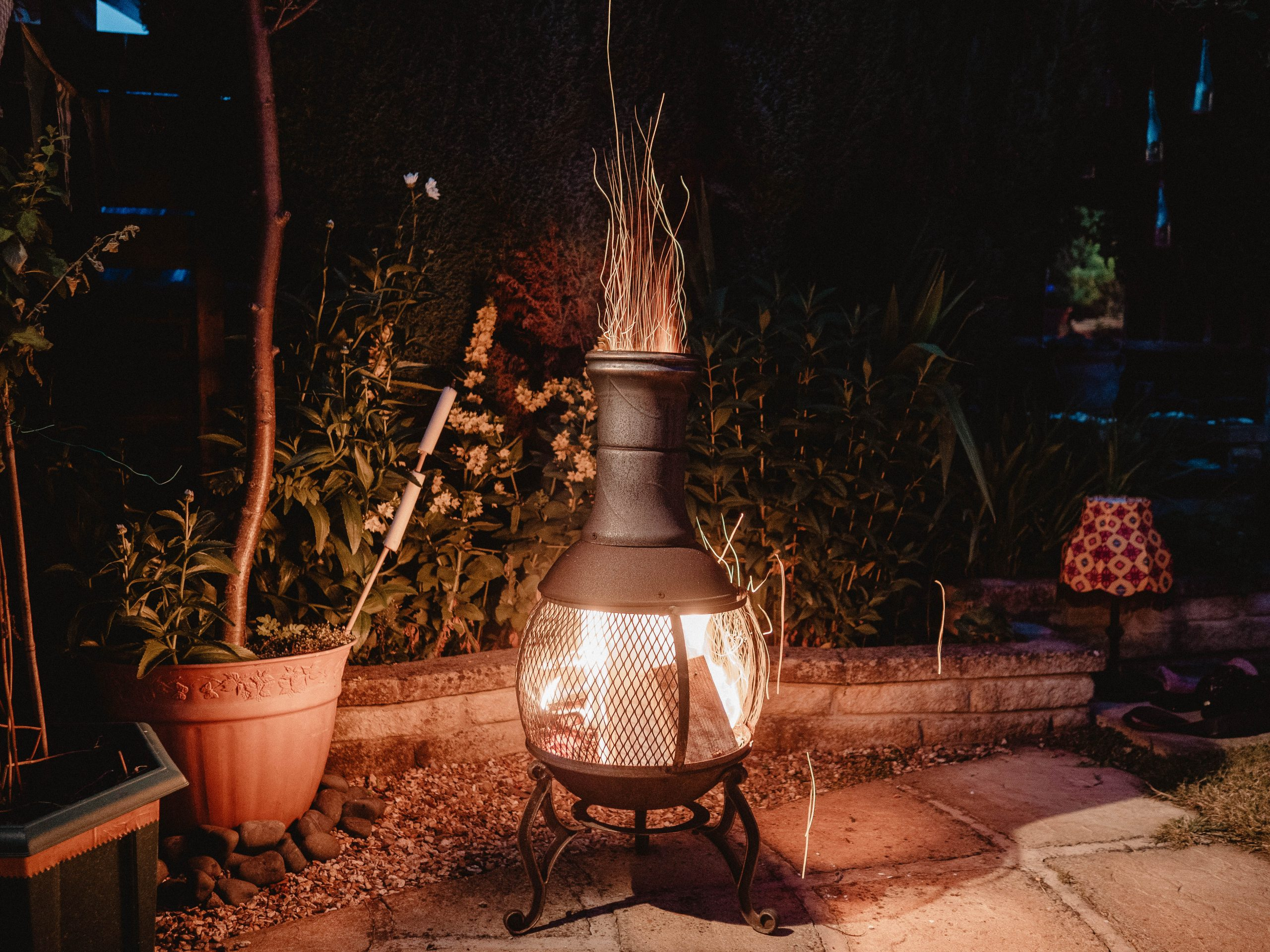 You can see an exterior fireplace.