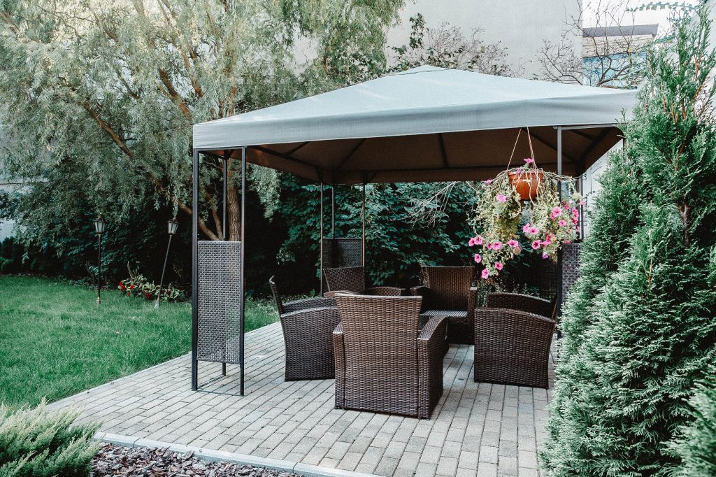 You can see a gazebo in the garden