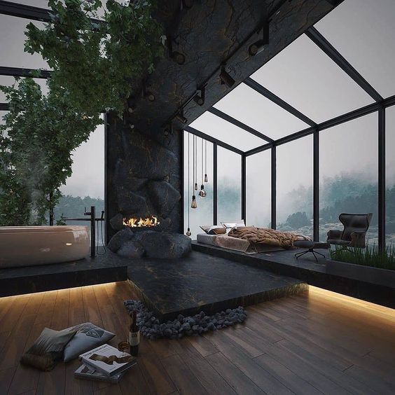 You can see a living room with black accents.