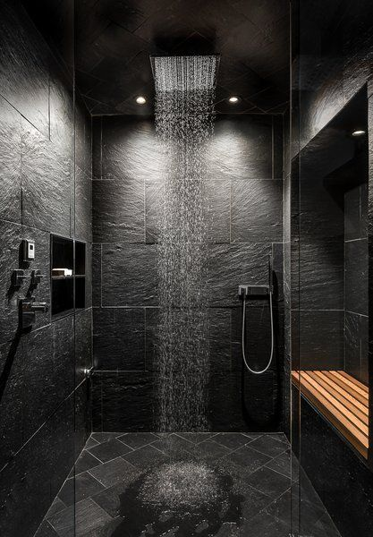 You can see a bathroom with black accents.