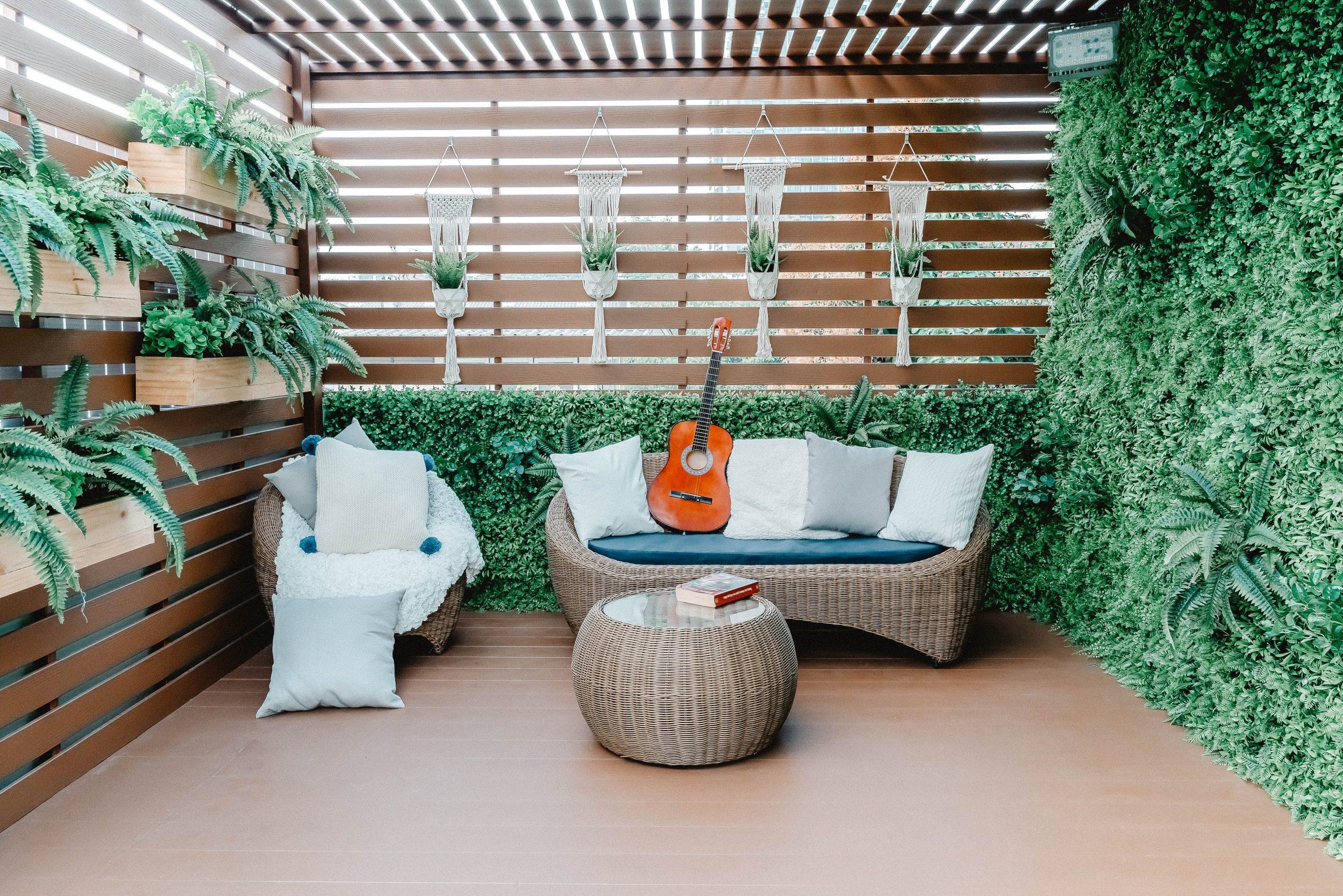 Vertical garden around a deck