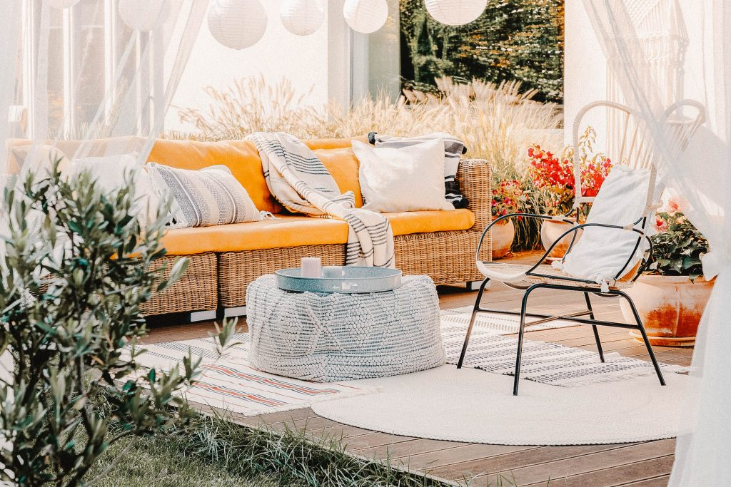 White curtains and yellow couch for your deck