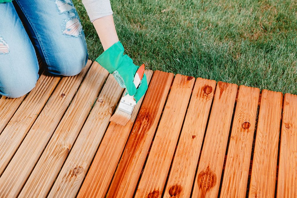 You can see a deck stained with semi-solid stain.